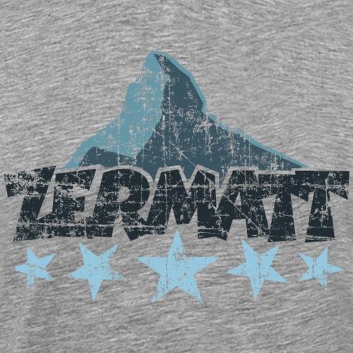 Zermatt Matterhorn 5 Sterne (Vintage Dunkel) - Männer Premium T-Shirt