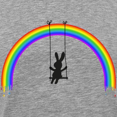 Kaninchen Hasen Regenbogen Schaukel Bunny Langohr - Männer Premium T-Shirt