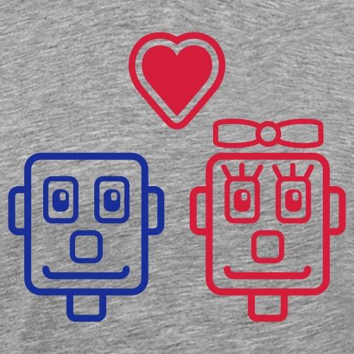 Motif Robots Amoureux - T-shirt Premium Homme