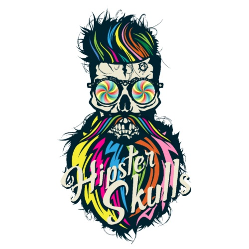 tete de mort hipster skull crane barbe moustache h - T-shirt Premium Homme