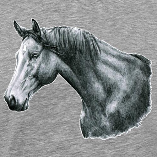 cheval portrait crayon dessin cadeau de luxe - T-shirt Premium Homme