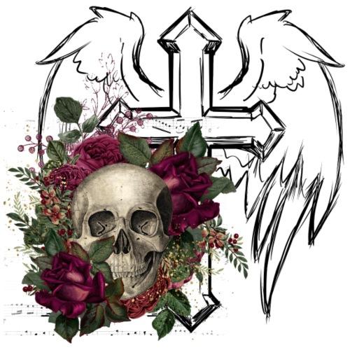 Floral Skull at Angels Cross - Männer Premium T-Shirt
