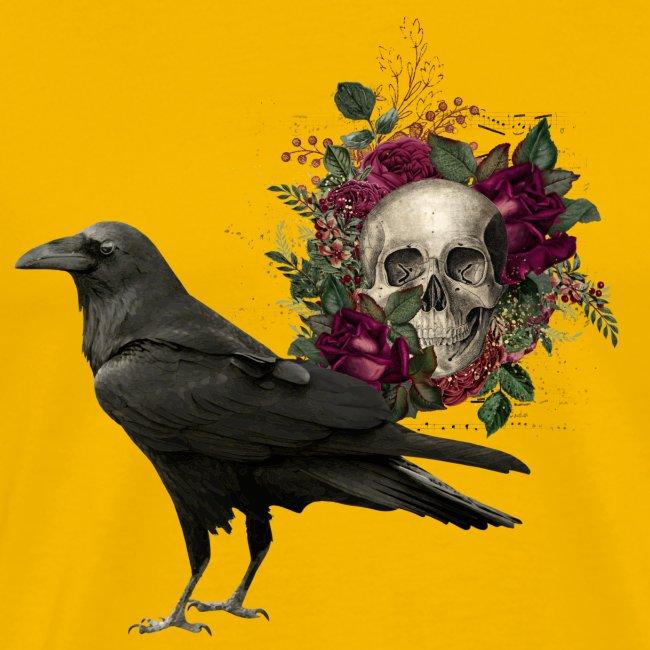 Floral Skull Raven