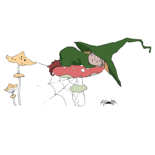 Green Witch sleeping at Mushroom - Männer Premium T-Shirt