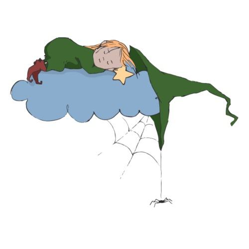 Green Witch sleeping at Cloud - Männer Premium T-Shirt