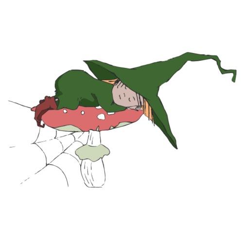 Green witch sleeping at a Mushroom - Männer Premium T-Shirt