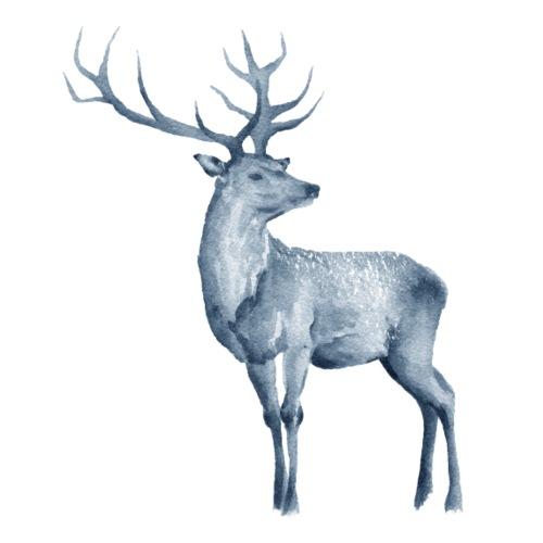 Deer Watercolor blue - Männer Premium T-Shirt