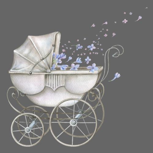 Baby Boy Carriage blue Flowers - Männer Premium T-Shirt