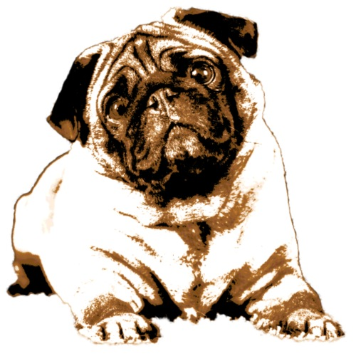 Pug Sepia - Männer Premium T-Shirt