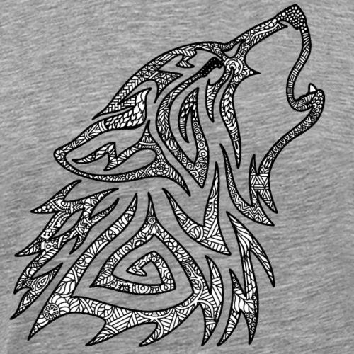 Howling Wolf Mandala - Men's Premium T-Shirt