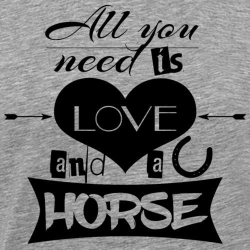 Love and Horses schwarz - Männer Premium T-Shirt