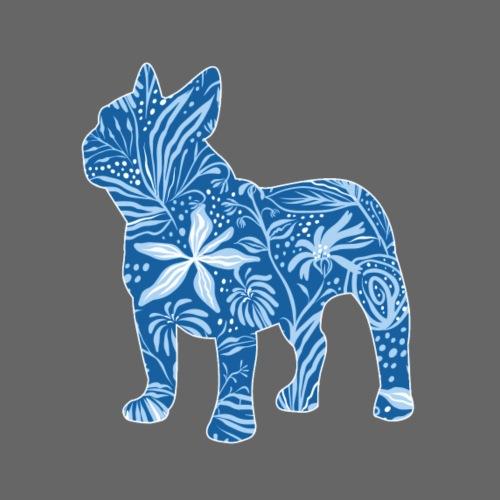 Flower Frenchie Blue - Miesten premium t-paita
