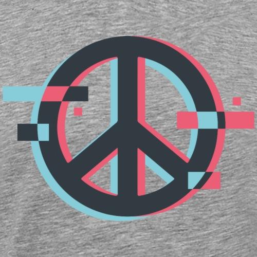Peace sign Peacezeichen Glitch 3D - Männer Premium T-Shirt
