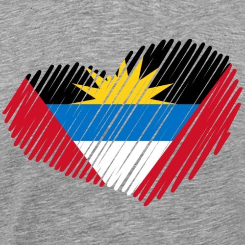 coeur drapeau antigua et barmuda - T-shirt Premium Homme