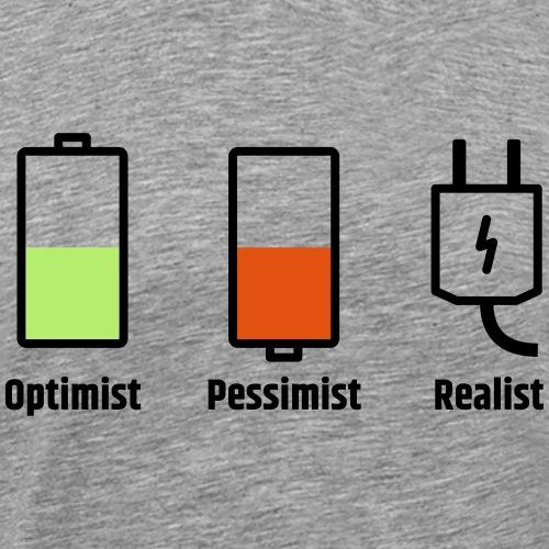 Akku-Philosophie: Optimist Pessimist Realist