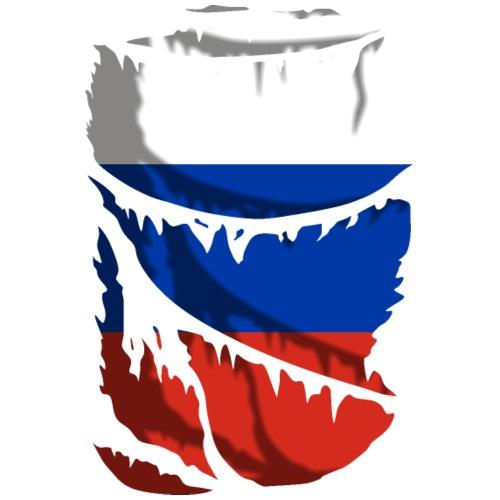 Tela rasgada con la bandera de Rusia - Camiseta premium hombre