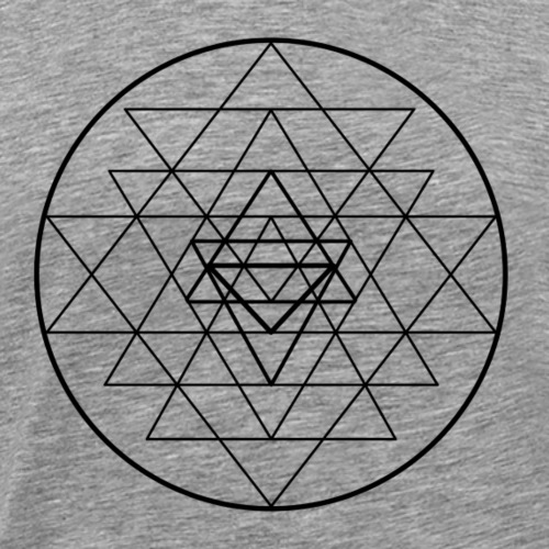 Sri Yantra - black and white - Herre premium T-shirt