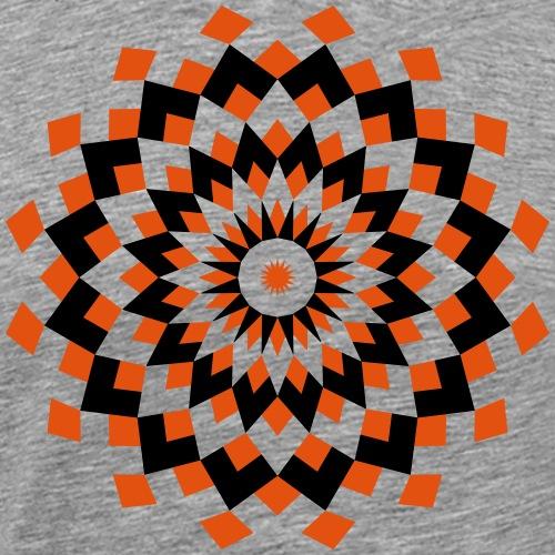 Mandala losanges orange et noir - T-shirt Premium Homme