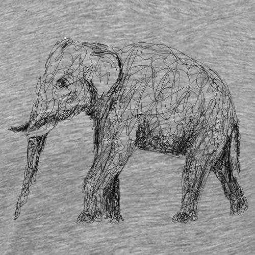 Elefant Lineart - Männer Premium T-Shirt