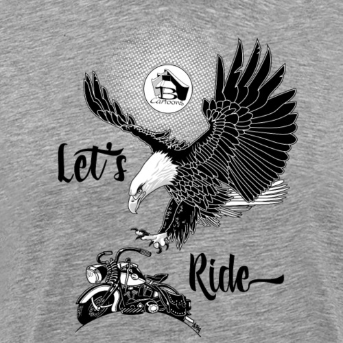 FRONT: 1 eagle 1 bike, BACK: 3 eagles 2 bikes. - Mannen Premium T-shirt