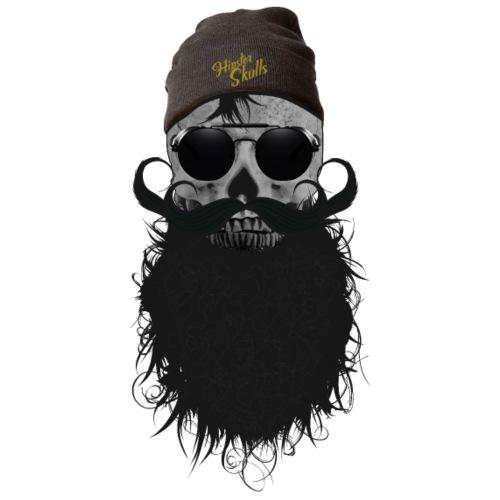 hipster skulls tete de mort crane bonnet moustache - T-shirt Premium Homme