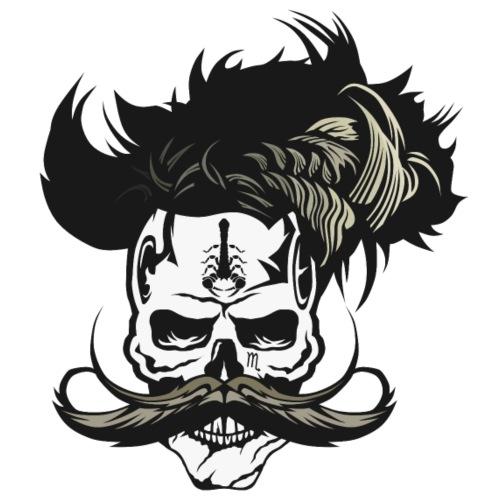 tete de mort crane hipster moustachu moustache sco - T-shirt Premium Homme