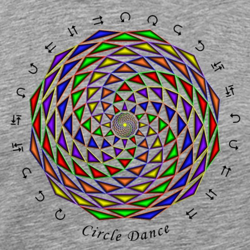 Mandala with Circle Dance words and glyphs - Men's Premium T-Shirt