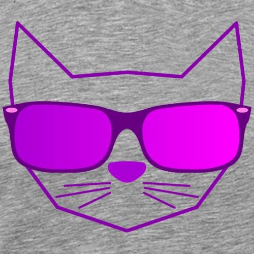 Katze mit Sonnenbrille lila - Männer Premium T-Shirt