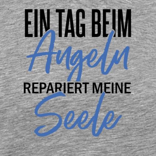 Tag beim Angeln repariert die Seele (Schwarz/Blau) - Männer Premium T-Shirt