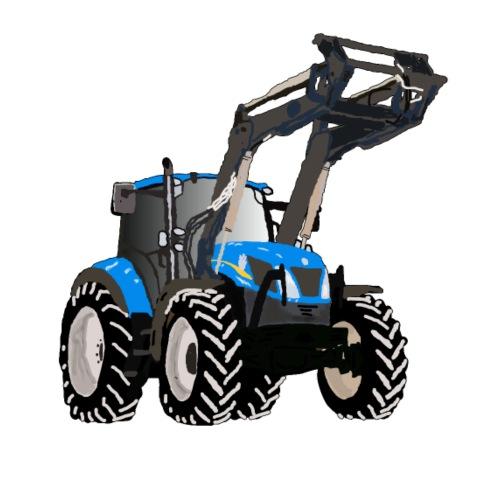 Blauer Traktor mit Frontlader - Männer Premium T-Shirt