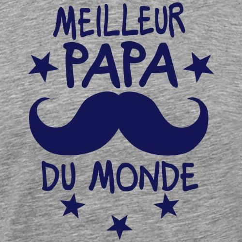 meilleur papa monde moustache etoile - T-shirt Premium Homme