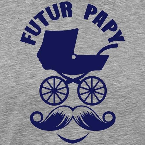 papy futur landau moustache smiley sytle - T-shirt Premium Homme