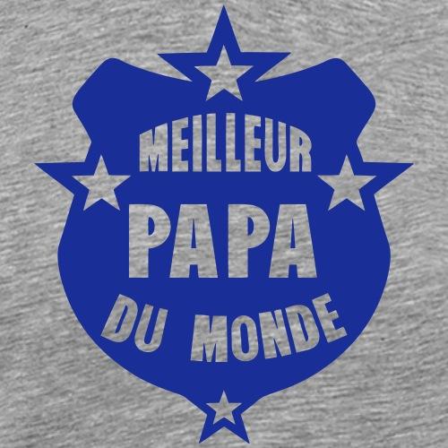 meilleur papa du monde ecusson fanion - T-shirt Premium Homme