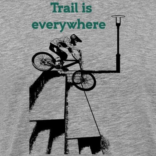 Mountainbiker Fahrradfahrer springt in Treppen - Männer Premium T-Shirt
