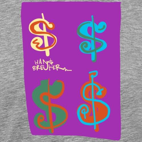 4 dollars paarse achtergrond - Mannen Premium T-shirt