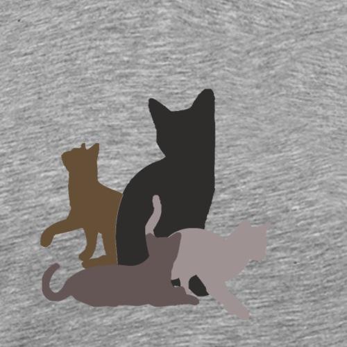 vier Katzen dunkel - Männer Premium T-Shirt