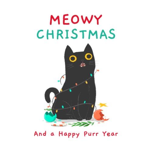 Meowy Christmas ad a Happy Purr year - Men's Premium T-Shirt