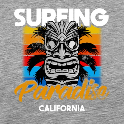 Surfing Paradise California Tiki - Mannen Premium T-shirt