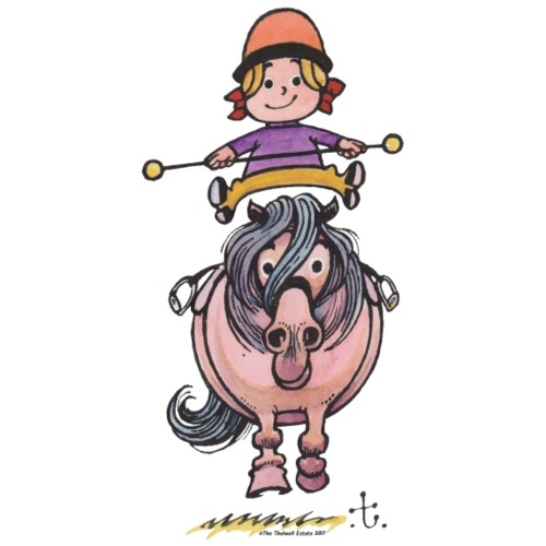 Thelwell Rider Balancing On Cute Horse - Men's Premium T-Shirt