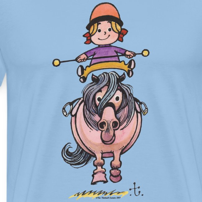 Thelwell Reiterin Balanciert Auf Süßem Pony