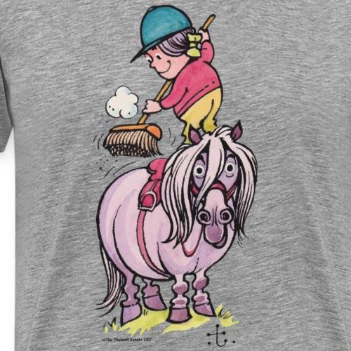 Thelwell Reiter Striegelt Pferd Mit Besen - Männer Premium T-Shirt