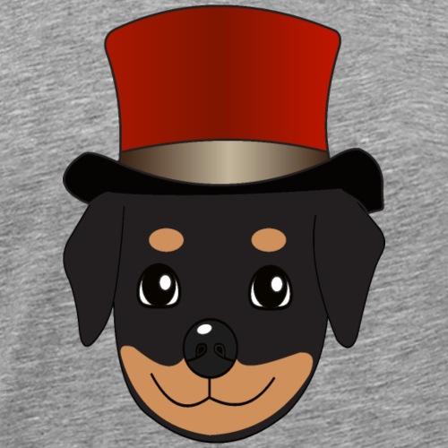 Baby-Rottweiler mit rotem Zylinder - Männer Premium T-Shirt