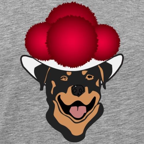 Rottweiler mit rotem Bollenhut - Männer Premium T-Shirt