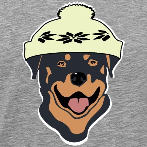 Rottweiler mit Pudelmütze - Männer Premium T-Shirt