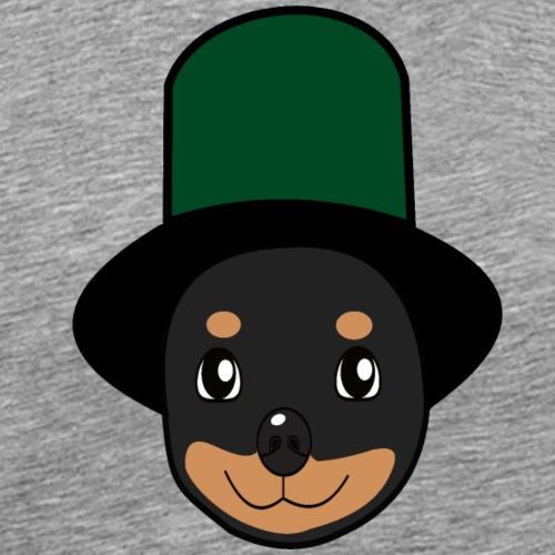 Baby-Rottweiler mit Zylinder grün - Männer Premium T-Shirt