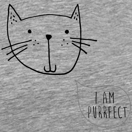 """Kleine Katze """"I am Purrfect"""" handgezeichnet - Männer Premium T-Shirt"""