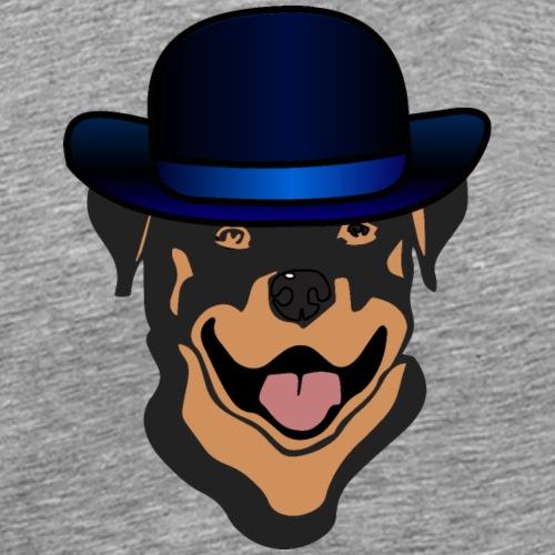 Rottweiler mit blauem Hut - Männer Premium T-Shirt