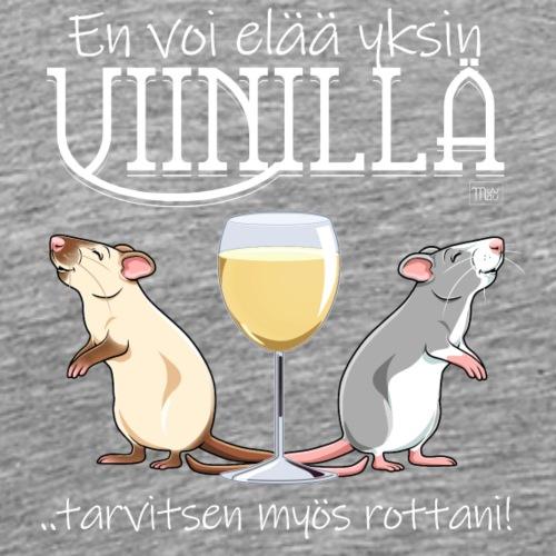 Yksin Viinillä Rottani V - Miesten premium t-paita