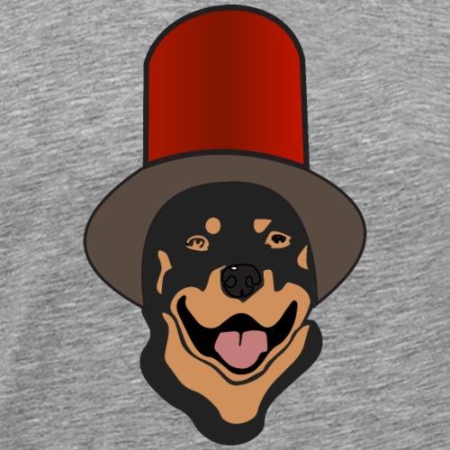 Rottweiler mit rotem Zylinder - Männer Premium T-Shirt