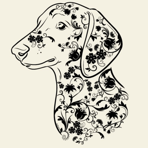 Dachshund Flowers III - Miesten premium t-paita